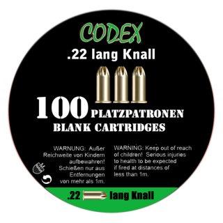 100 Codex blank cartridges .22 long K.