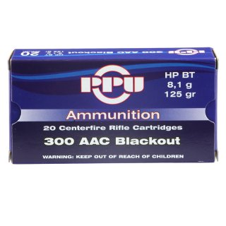 .300 AAC Blackout 125grs HPBT PPU 20 St.